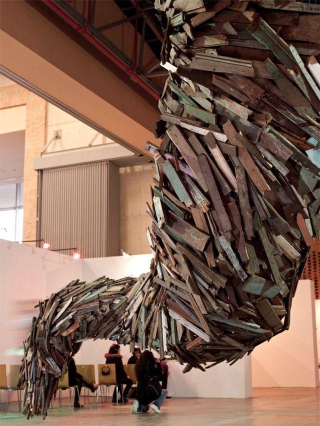 A Tornado of Repurposed Wood Sweeps through Art Bogotá wood weather tornadoes sculpture