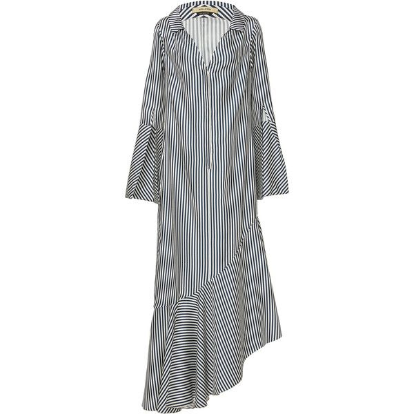 Hellessy Lily Open Collar Shirt Dress ($1,490) ❤ liked on Polyvore featuring dresses, stripe, white dress, button down shirt dress, t-shirt dresses, collared shirt dress and button down dress