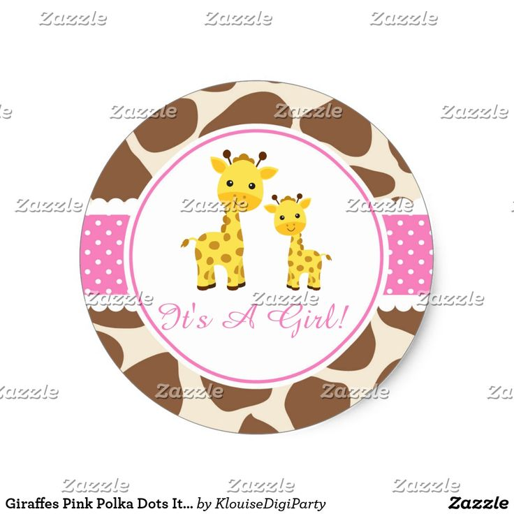 Giraffes Pink Polka Dots It's A Girl Classic Round Sticker