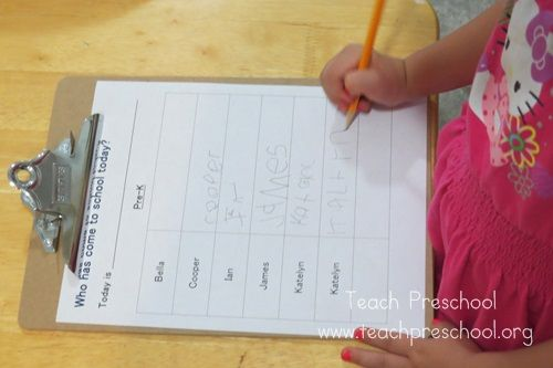 Signing in to preschool by Teach Preschool  Good way to get kidos writing their names!!!