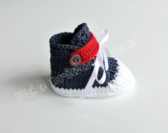 Baskets tricotées à la main pour bébé : pour faire comme les grands ! Knit sneakers for babies, like a grown up !