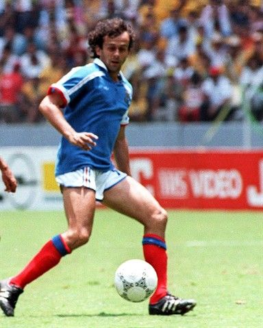 French midfielder Michel Platini ties the score at 1 during the World Cup quarterfinal soccer match between France and Brazil 21 June 1986 i...