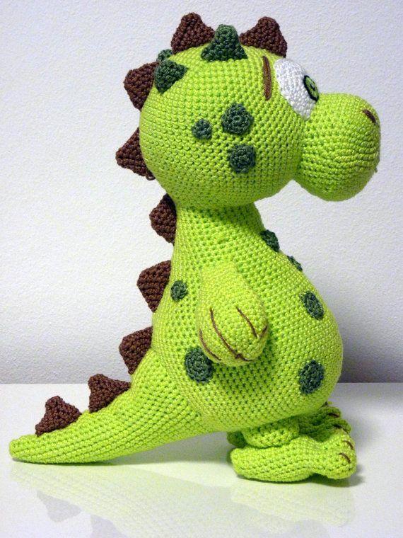 Crochet Pattern Dinosaur Lucky Amigurumi PDF Cute Green Dino Genuine Eyes Stuff Toy For Children Animal Stains Thorns Embroider EBook
