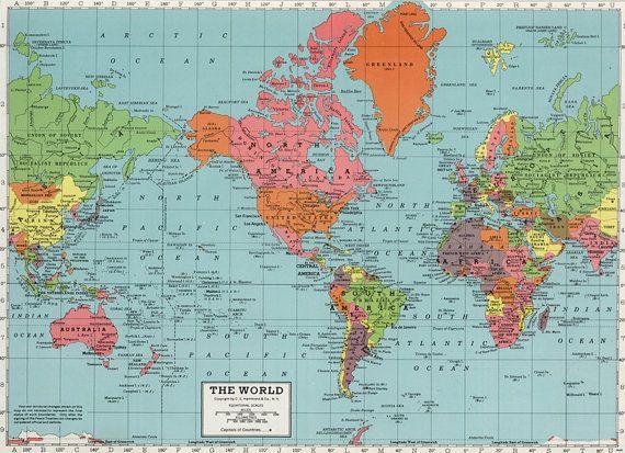 World Map Digital Print Printable Map Poster Antique School Etsy World Map Printable World Map Art World Map