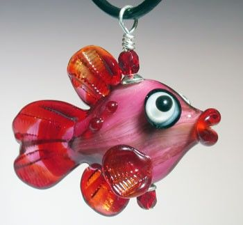 pinkie valentines day fish lampwork focal necklace sra fused glassglass