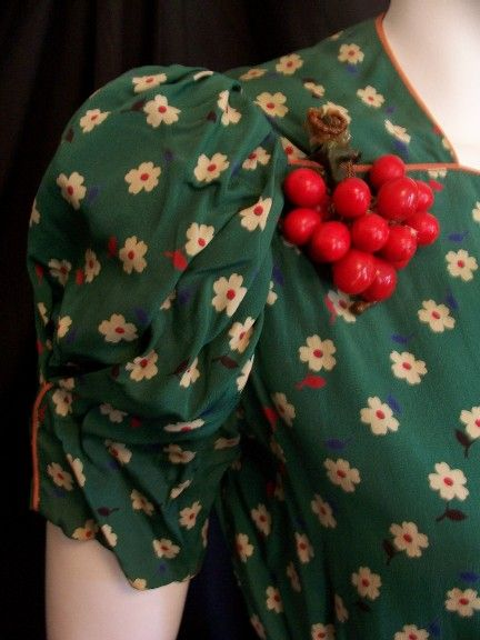 Bakelite cherries and sweet floral print