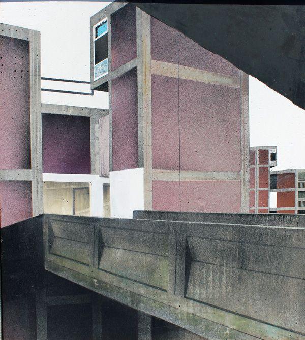 Mandy Payne, Between Places and Spaces - Bleak - Aerosol on concrete. Tarpey Gallery.