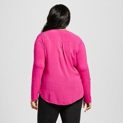 Women's Plus Size Mixed Media Popover Top - Ava & Viv Tulip Pink 2X