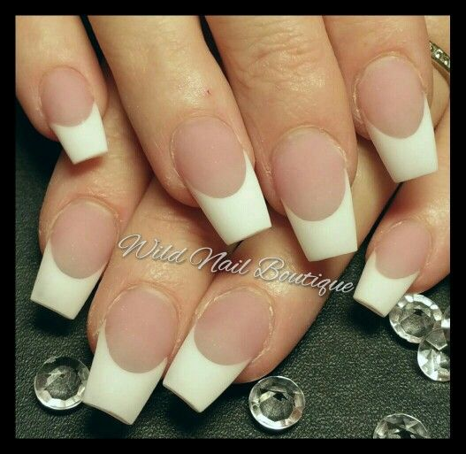 Acrylic Matte french in ballerina / coffin shape @ wild nail boutique