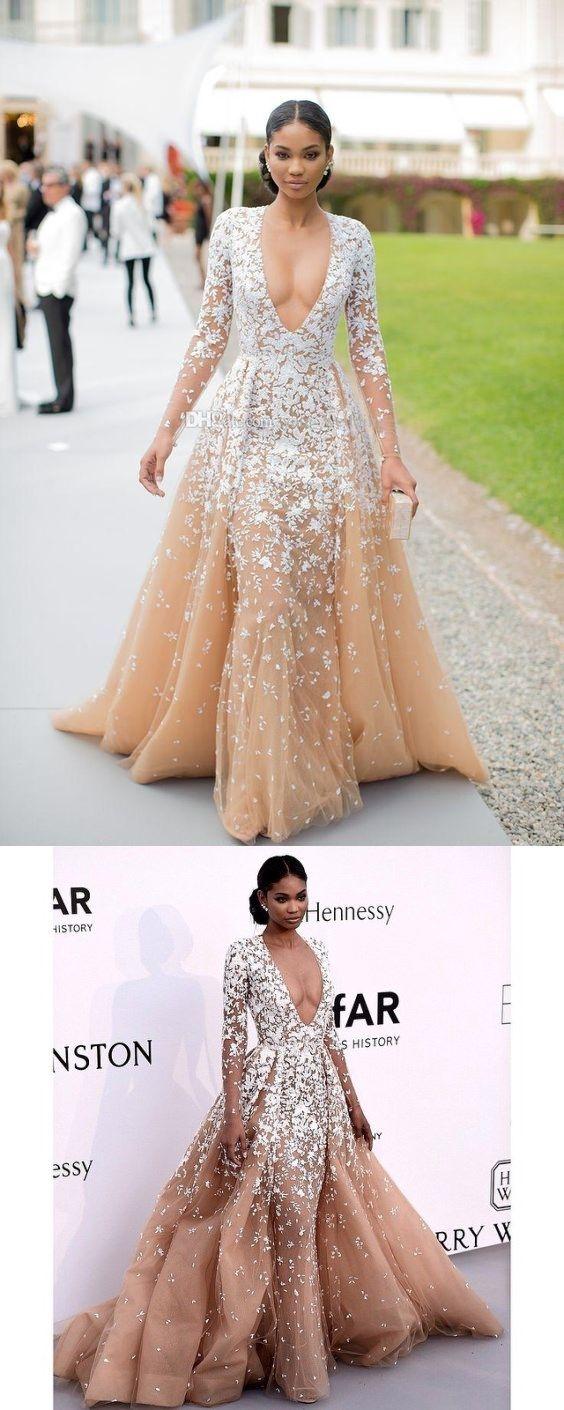 Custom Made Champagne Prom DressLong Sleeves Evening Dress Deep V