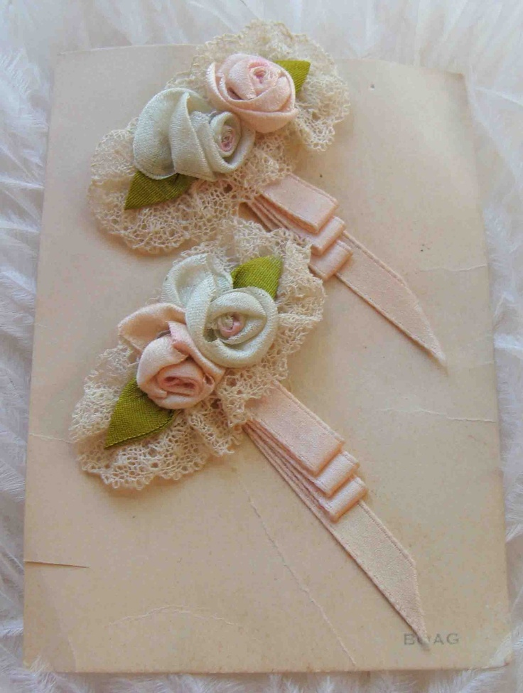 Circa 1920s Whisper Pink and baby Blue Silk Ribbon Rosette Lingerie Pins Adorned With Lace