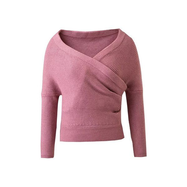 Yoins Pink Sexy Wrapped Cropped Jumper (3875 RSD) ❤ liked on Polyvore featuring tops, sweaters, sexy jumper, pink jumper, wrap crop top, cropped sweater and sexy sweaters
