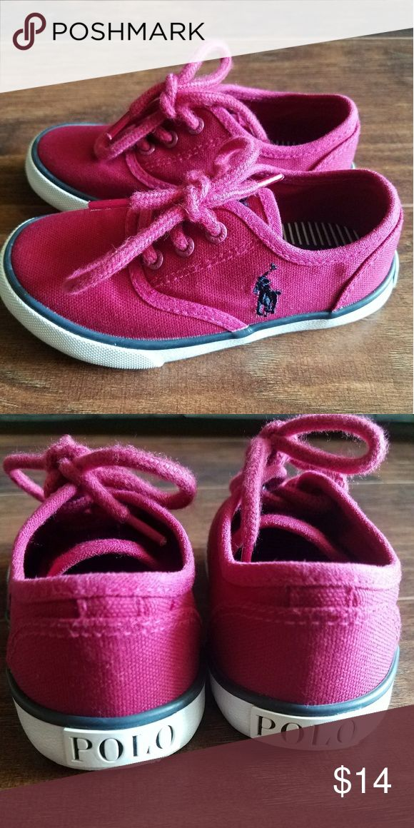 Toddler Girl Canvas Polo Magenta in color (navy blue polo man) , these toddler polo shoes pair greatly with dresses, skirts, jeans, or shorts. Polo by Ralph Lauren Shoes Sneakers