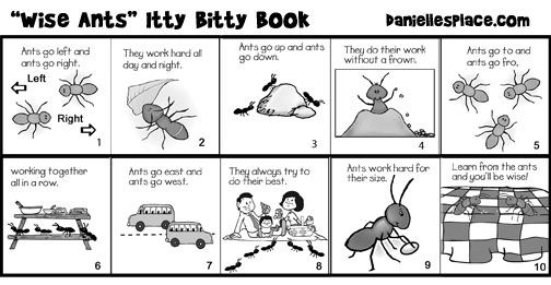 """Wise Ant"" Itty Bitty Book for Sunday School from www.daniellesplace.com"