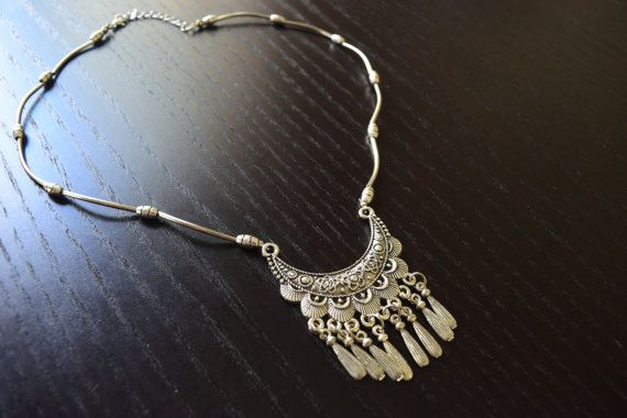Unique Tibetan Silver Necklace Gypsy Style Tibet by SassyandCool