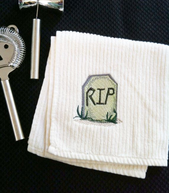 HALLOWEEN Bar Towel TOMBSTONE / RIP theme by lisaBbowman on Etsy