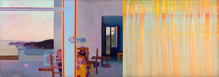 """Cremonini, Leonardo ITALIAN 1925–2010 WANDERING GAMES , 1979-1981 OIL AND TEMPERA ON CANVAS 16 1/4"""" X 45 9/16"""" CREM 4   The Louis-Dreyfus Family Collection"""