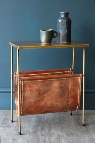 £99 . Gatsby Side Table with Leather Magazine Holder . w46 x d26 x 55h . Lead time 14 days £5.99