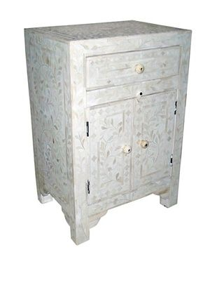 -58,800% OFF Mili Designs 1 Drawer 2 Doors Bone Inlay Bedside, White/White