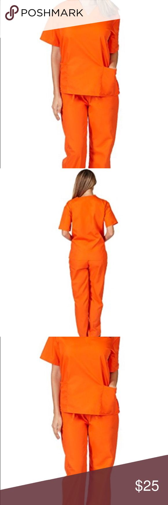 """Orange Scrub Set - women's Like new orange scrub set- (top and bottom). Worn for a few hours for halloween costume. Perfect condition.  Size is XS however they run very big, so if you are normally small or medium in clothing this will probably fit you. Elastic waist on pants.  I am 5'4"""" thin build and these fit me perfectly. Pants"""