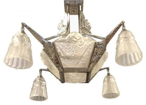 lampadari art deco : French Art Deco chandelier signed by Degue by 1ofakindnj on Etsy