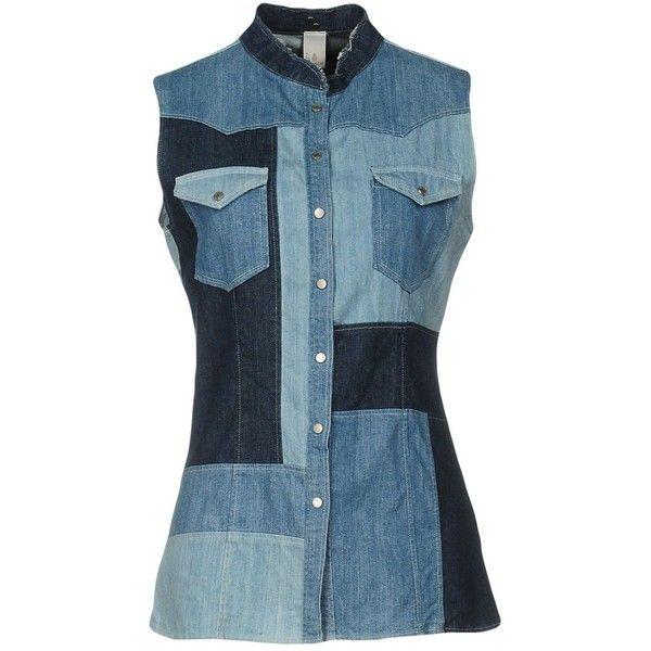 Dondup Denim Shirt ($110) ❤ liked on Polyvore featuring tops, blue, patchwork shirt, denim snap button shirt, blue shirt, sleeveless shirts and sleeveless denim shirts