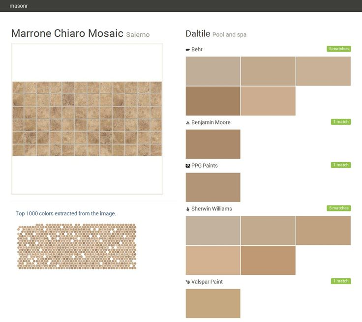 Marrone Chiaro Mosaic. Salerno. Pool and spa. Daltile. Behr. Benjamin Moore. PPG Paints. Sherwin Williams. Valspar Paint.  Click the gray Visit button to see the matching paint names.