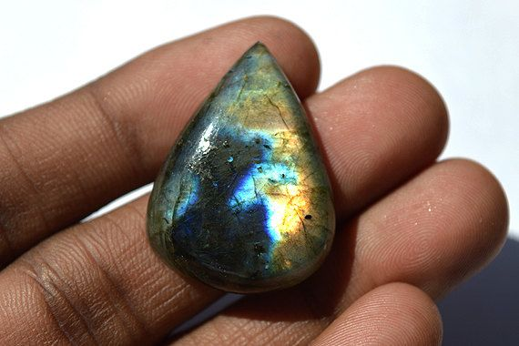 34.5 Cts Natural Golden Fire Labradorite Cabochon Both Side Polished Pear Shape Labradorite Loose Gemstone 21x23x7 MM AC304 by JAIPURARTMART on Etsy