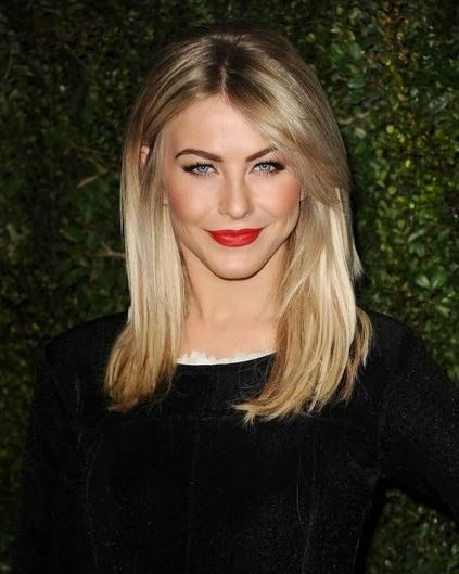 shoulder length hair with side swept bangs thin blonde hair This length*