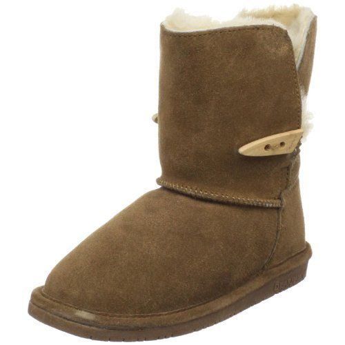 "Bearpaw Abigail Shearling Boot (Toddler/Little Kid/Big Kid) Bearpaw. $39.89. Flexible sole. Rubber sole. Shaft measures approximately Mid-Calf"" from arch. suede. Non-marking outsole"