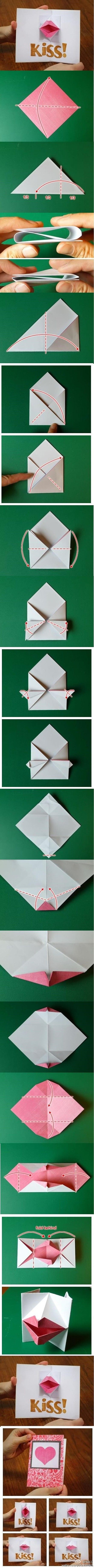 handmade origami card tutorial ... Pop up kiss card ... luv it! ... perfect for Valentines Day ...