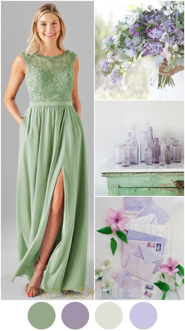 A Sage Green & Lilac Purple wedding color palette | Kennedy Blue Bridesmaid Dress Jade in Sage