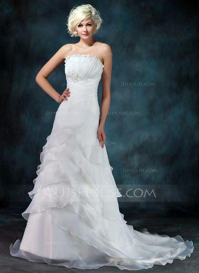 Wedding Dresses - $146.99 - A-Line/Princess Scalloped Neck Court Train Organza Wedding Dress With Ruffle Beadwork (002012849) http://jjshouse.com/A-Line-Princess-Scalloped-Neck-Court-Train-Organza-Wedding-Dress-With-Ruffle-Beadwork-002012849-g12849