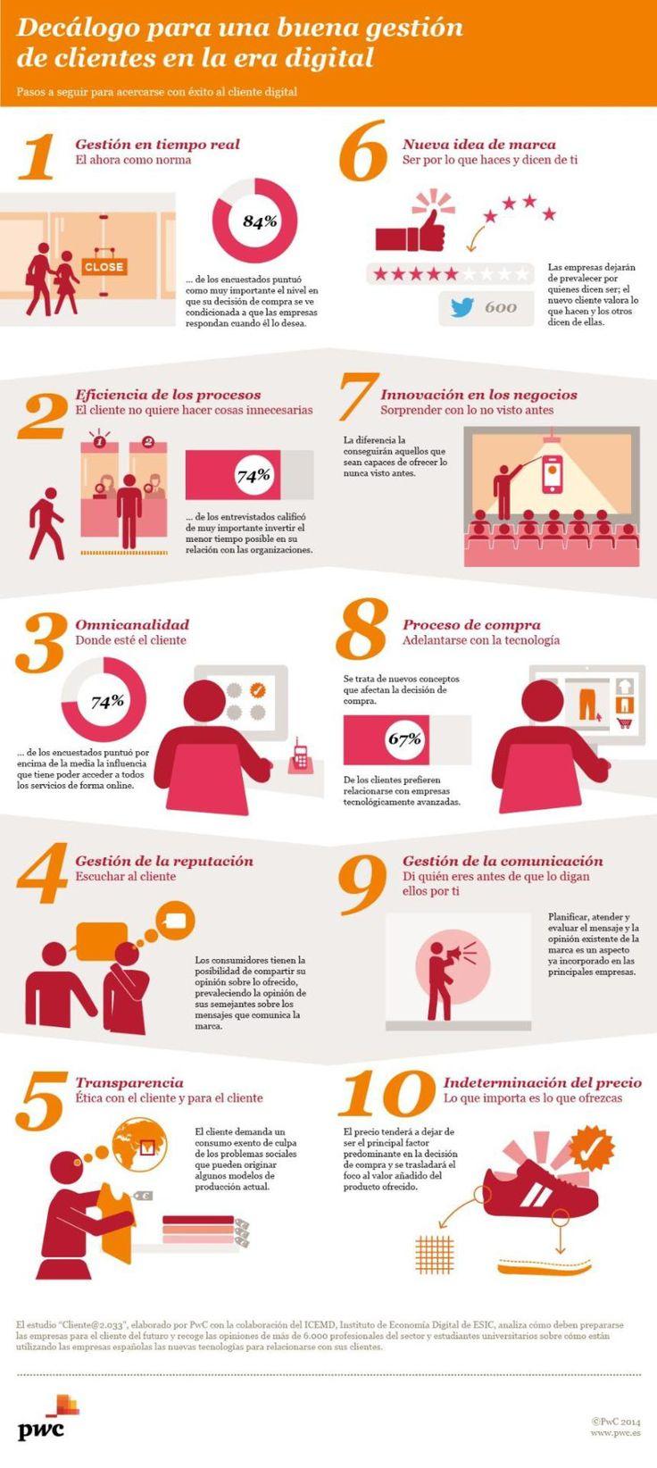 10 consejos para una buena gestión de clientes digitales #infografia #marketing