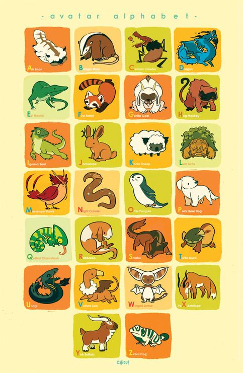 Avatar Animal Alphabet by Chiou. //http://chiou.deviantart.com/art/Avatar-Animal-Alphabet-314995577