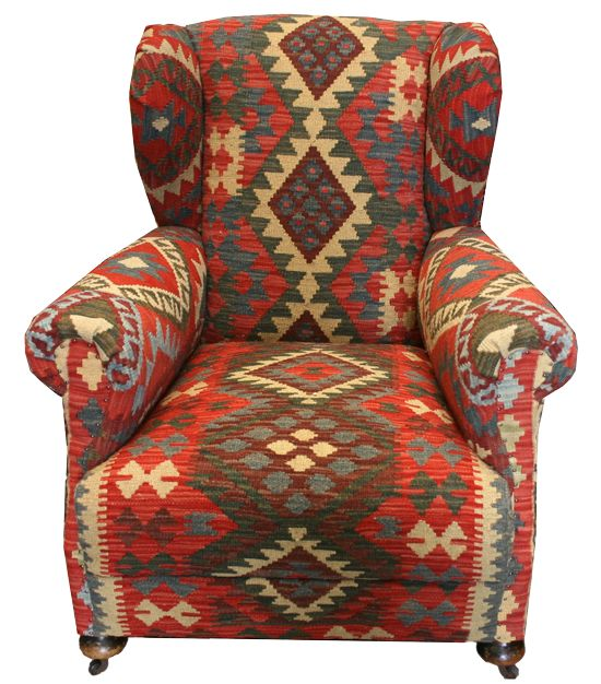 Old Kilim Wing Chair