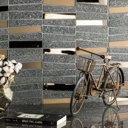 Villa Bronze Mirror and Quartz Tile | TileBar.com