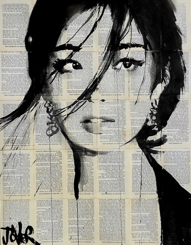 """Urchin by Loui Jover. Jover creates his pen and ink drawings on vintage book paper because he believes that it adds to the fragility of the works, saying """"the wind may blow them away at any moment."""" Also, juxtaposing the stark black lines with the intricate printed words offers """"a strange fusion and depth that seems to give the images a kind of 'meaning' and back story, even though unconnected in a contrived way."""""""