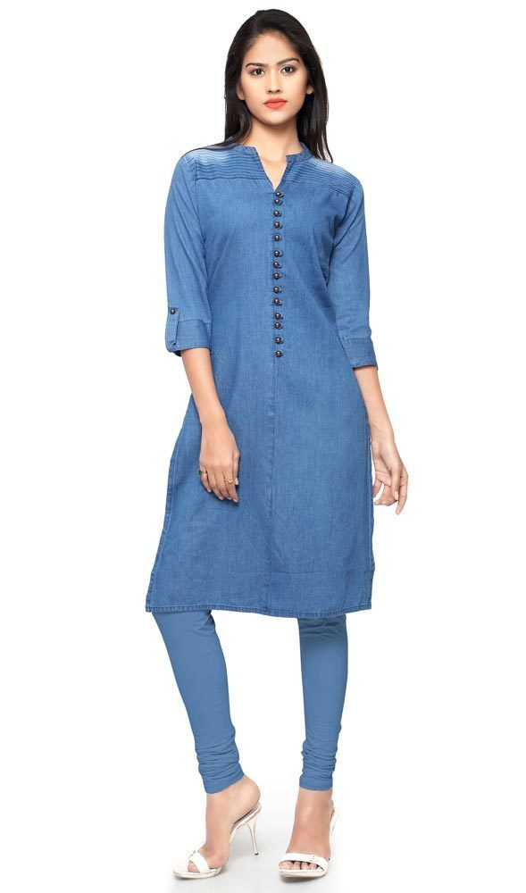 a82bc446725 Blue Color Denim Embroidered Tunic in 2019   Indian Designer Tunics  Collections 2019   Denim kurti, Denim kurti designs, Kurti with jeans