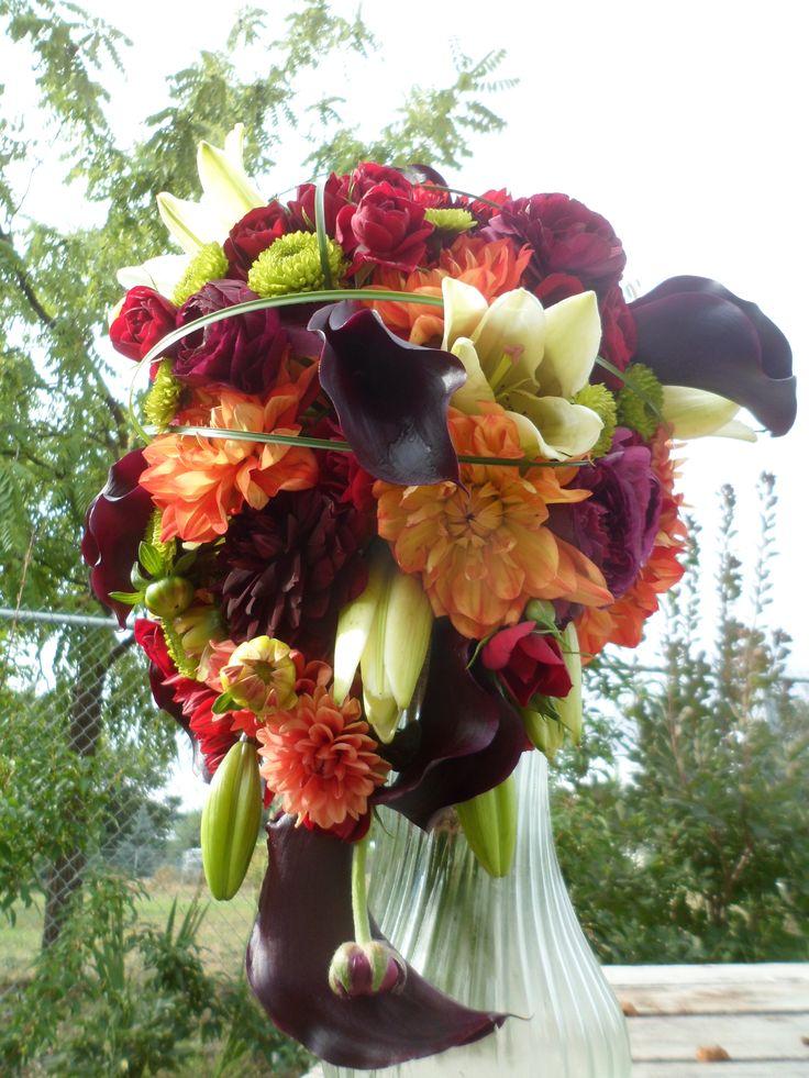 Bright And Bold Cascading Bouquet Dark Burgundy Calla