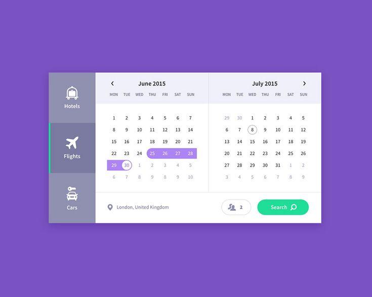 Calendar, travel UI freebie