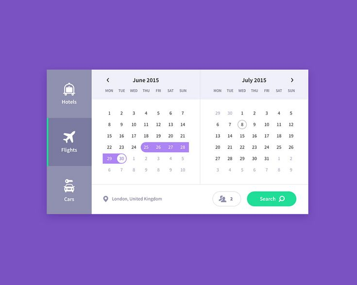 Calendar, travel UI freebie