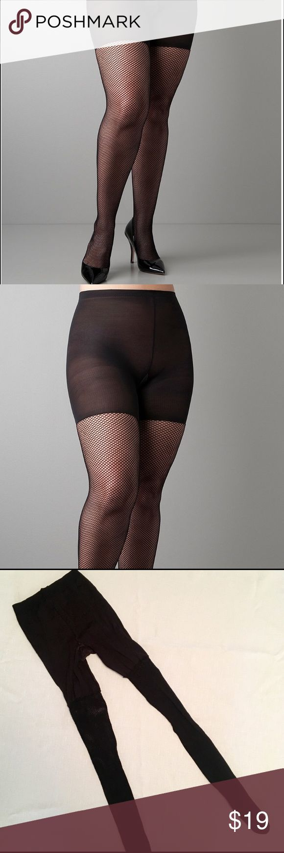 New Spanx Size D Black Fishnet Stockings Tights Brand new. Tried on but never worn out. Thick, Knit fishnet with a strong control top. No flaws or tears. Fishnet pantyhose that slims your tummy, thighs and rear! Spanx has combined sexy, plus-size fishnet legs and their amazing control panty with a non-binding waistband and cotton gusset. Size D, fits 5-6 foot 165-220 lbs. Please see size chart. SPANX Intimates & Sleepwear Shapewear
