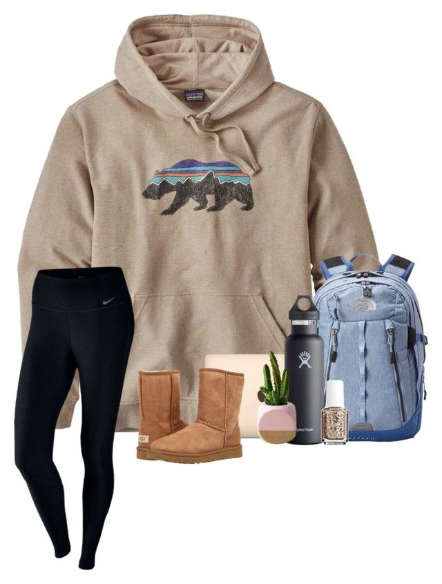 """Desert Wind"" by brookespreppy ❤ liked on Polyvore featuring Patagonia, NIKE, The North Face, Hydro Flask, UGG Australia, Essie, casual, Boots, southern and winter2018"