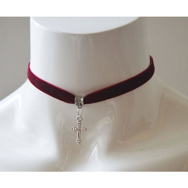 Gothic simple choker wine red velvet ribbon with silver cross wiccan... (11 AUD) ❤ liked on Polyvore featuring jewelry, necklaces, silver choker necklace, metal choker necklace, gothic chokers, metal collar necklace and cross necklace