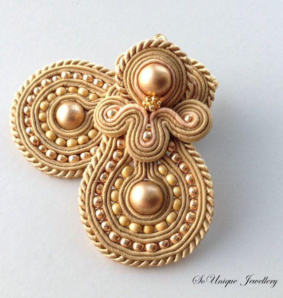 Golden Soutache earrings by Sounique Jewellery. Only £15!