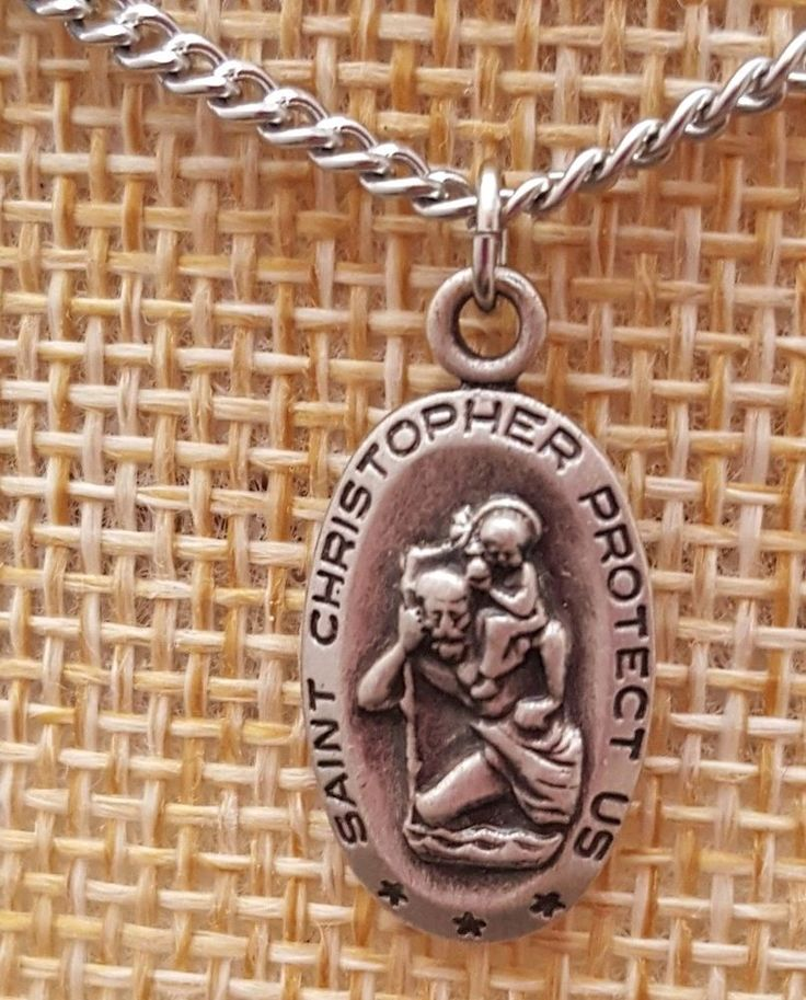 sterling silver st christopher pendant on silvertone chain oval  #Pendant