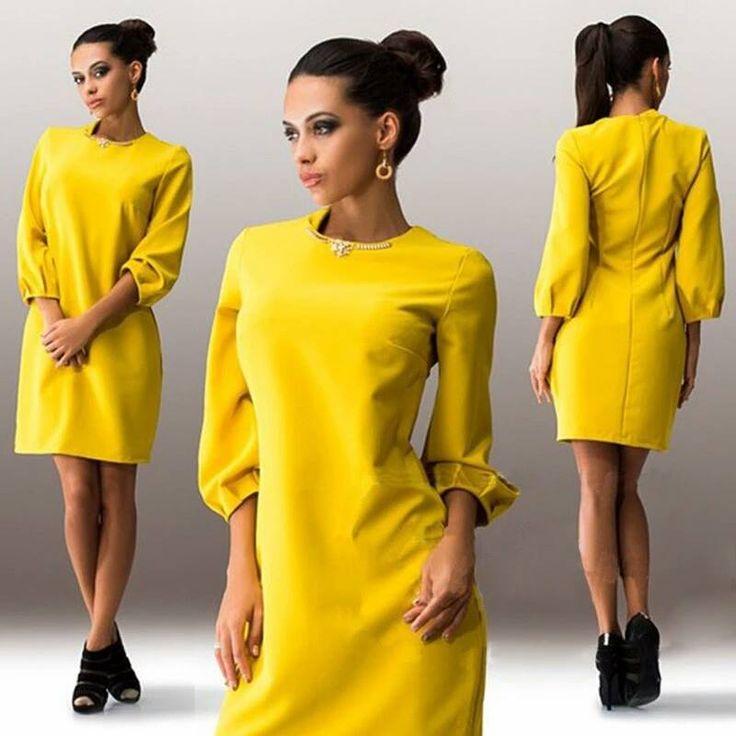 Sárga karcsúsított ruha