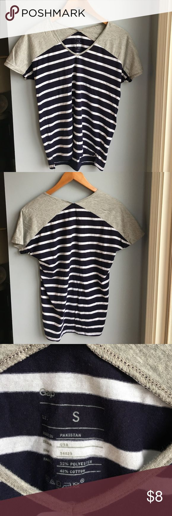 Gap t-shirt Navy blue and white, and gray striped t-shirt. Gap brand, size small. Barely worn GAP Tops Tees - Short Sleeve