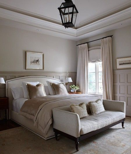 paneled walls.Beds, Lights Fixtures, Bedrooms Design, Master Bedrooms, Black Lights, Wall Colours, Neutral Bedrooms, Bedroom Designs, Bedrooms Ideas